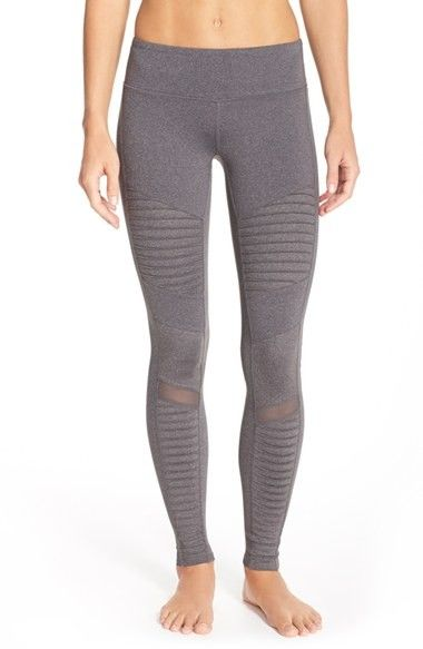 Alo Moto Leggings, - Grey Moto-inspired panels amplify the sporty-chic edge of t...