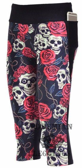 Black Skull Red Rose Capri Yoga Pants