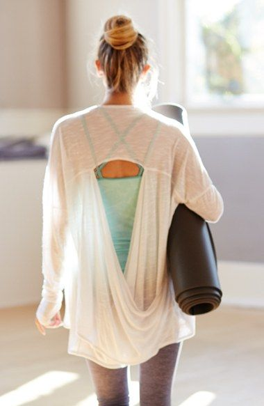 In LOVE with this open back cardi!! Zella 'Athena' Open Back Drape Cardi...