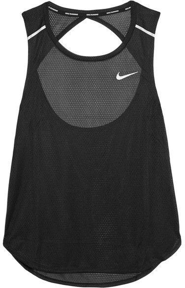 Nike - Breathe Open-back Stretch-mesh Tank - Black