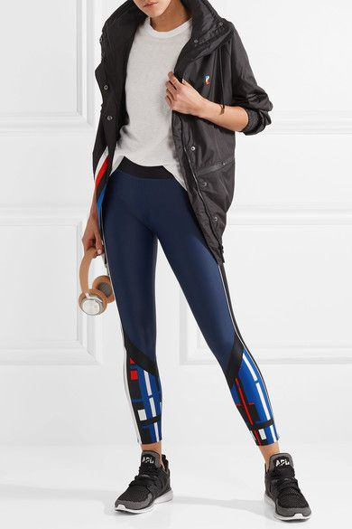 P.E Nation - The Bowl Out Striped Stretch Leggings - Storm blue