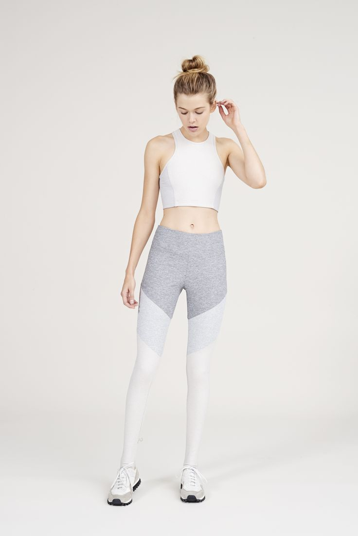The Color Blocked Dancer Leggings in Ash, Dove & Oatmeal from Outdoor Voices. Ac...