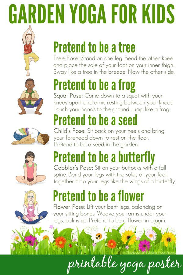 photograph regarding Bikram Yoga Poses Chart Printable called Yoga Poses : Backyard garden Yoga for Little ones: Absolutely free Printable Poster