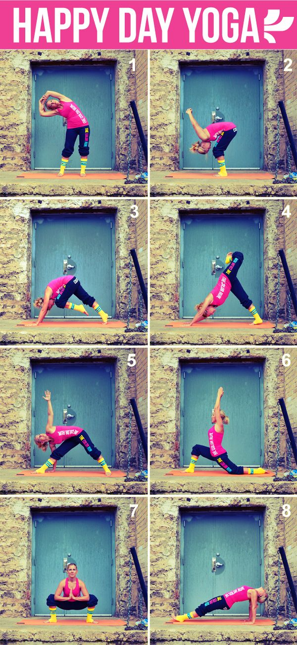 Get your happy on with a daily dose of yoga. Do the sequence twice, alternating ...