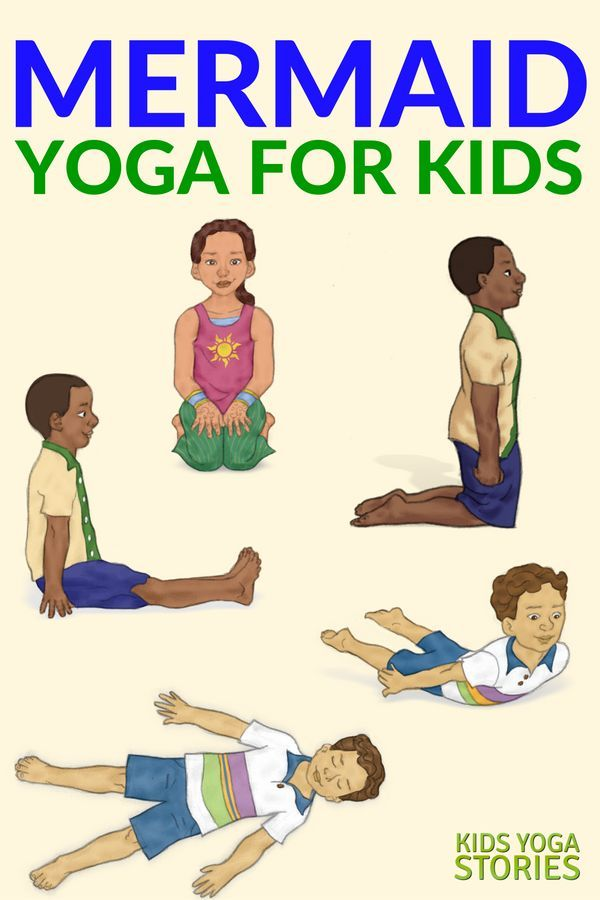 Mermaid Yoga!  Learn about mermaids through yoga poses for kids. Sit like a merm...