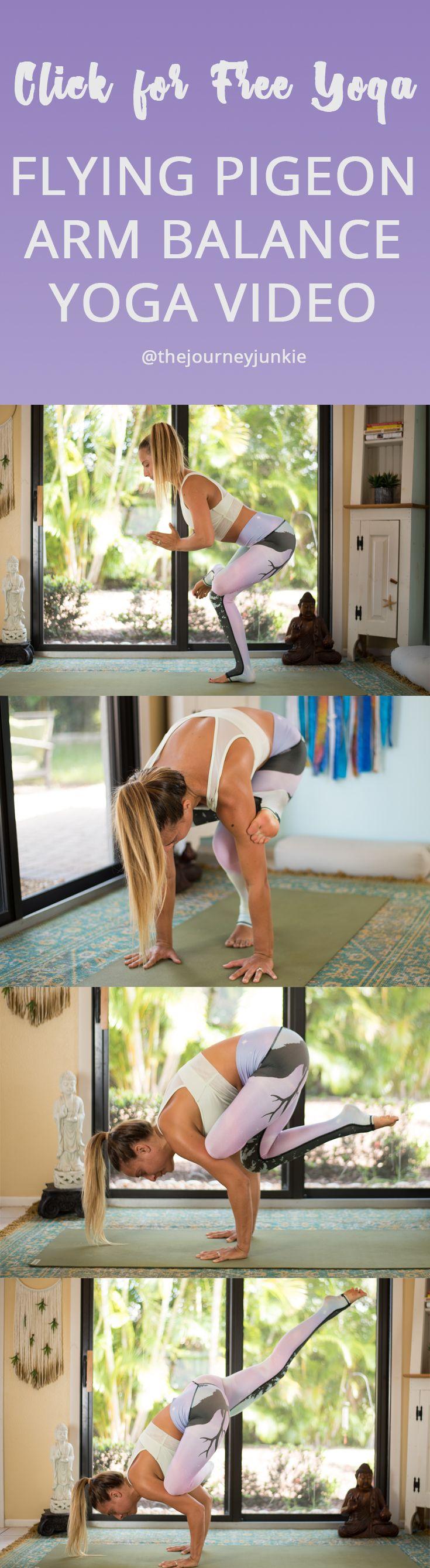 Arm Balance Power Yoga Flow for Flying Pigeon Pose (Eka Pada Galavasana) - Pin n...