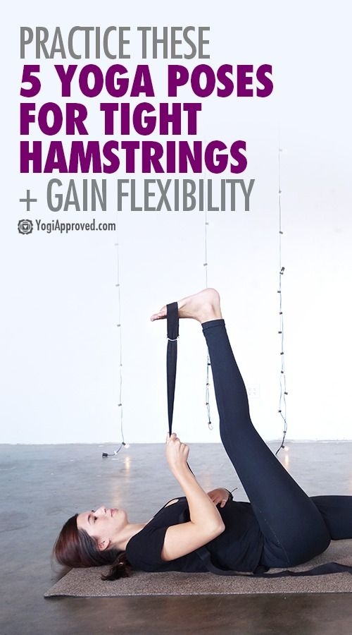 Find relief from hip or back pain with yoga for tight hamstrings. Learn 5 yoga p...