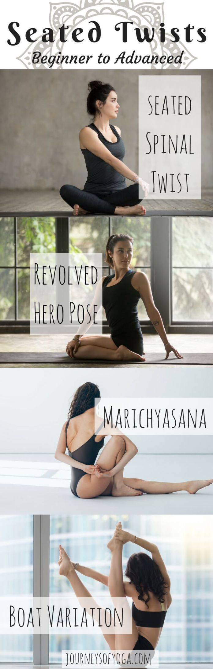 These seated twisting yoga poses are organized by level of difficulty. However, ...