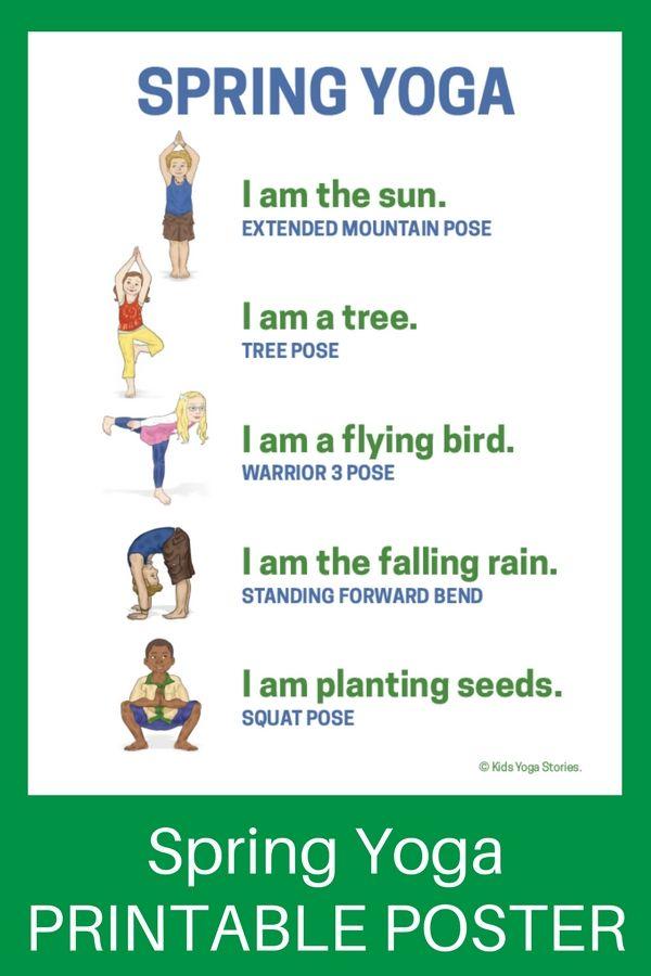 Yoga for Spring (Printable Poster) - celebrate spring through fun and movement |...