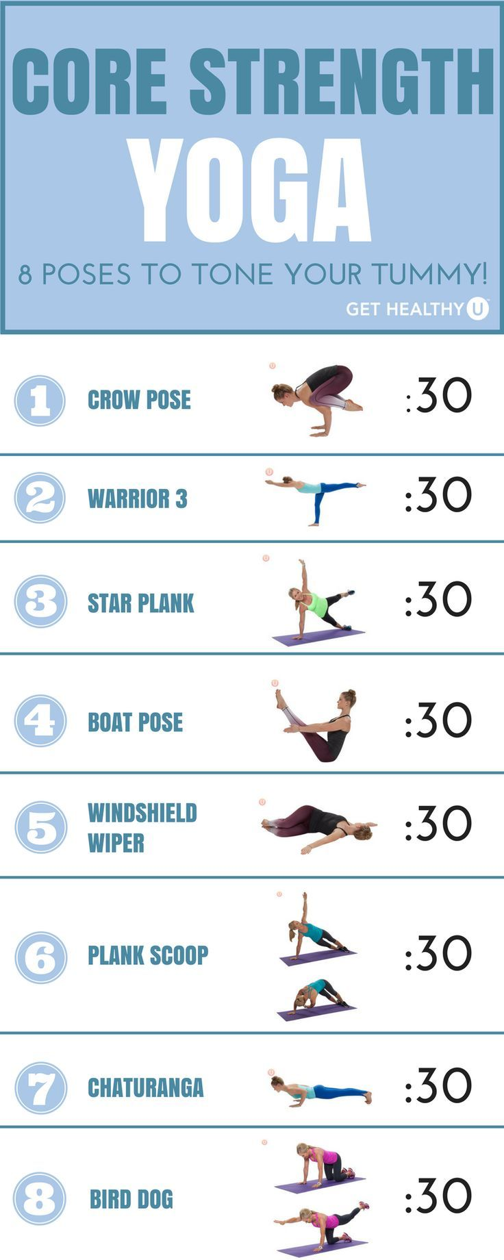 Yoga poses that emphasize core strength. Try them out one at a time, holding eac...