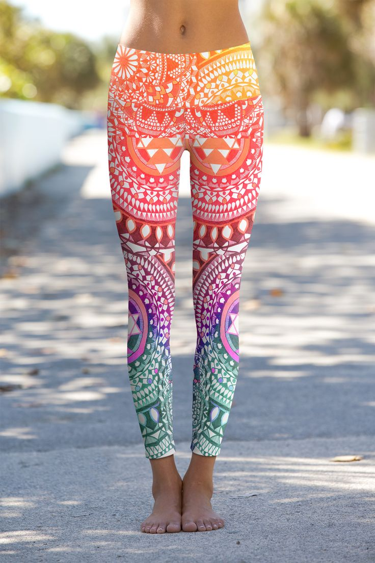 Chakra Diamonds yoga leggings with a vibrant pattern and colors to infuse your s...