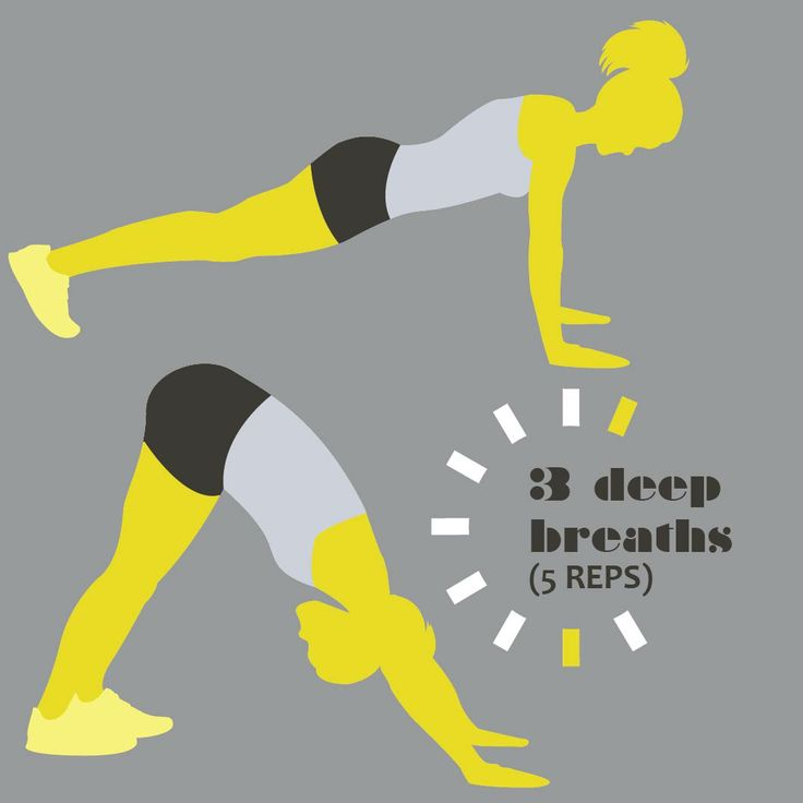 Downward Facing Dog  Start in a push up position with your back straight. Breath...