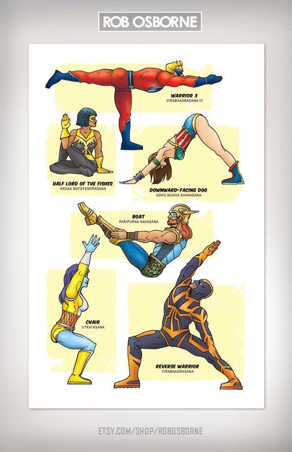 LOVE yoga an superheros so here you go...    SUPERHERO YOGA Super Pop Art Print ...