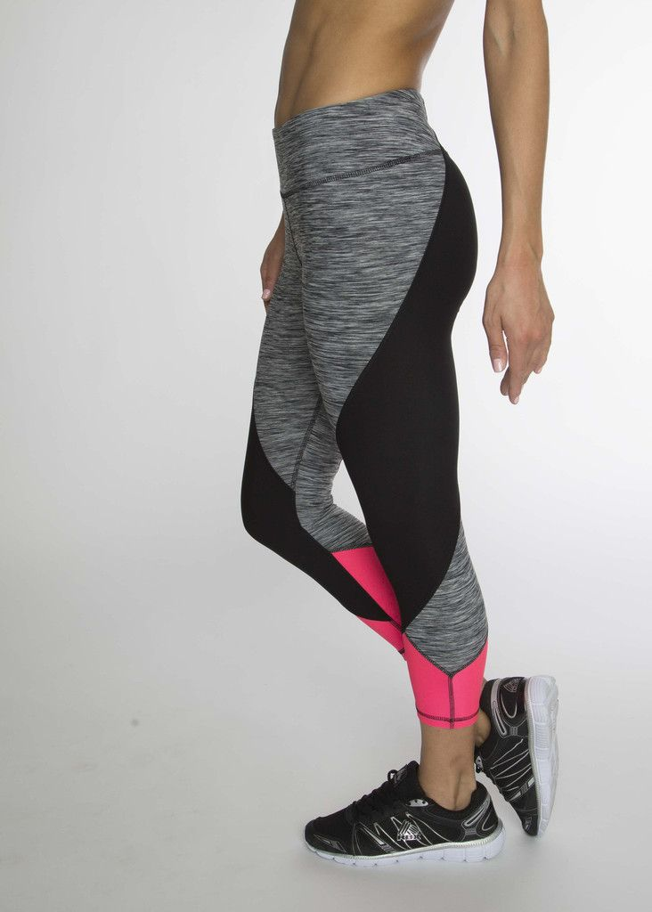 Elevate your workout in these color-blocked geometric leggings. The capri length...