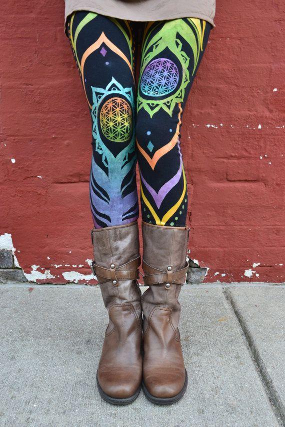 HandmadeFlower of Life LeggingsOrganicOriginal by heARTIlluminate