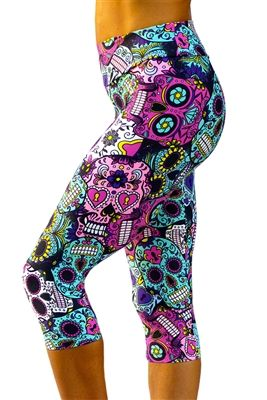 Sugar Skulls - Printed yoga pants, leggings, tights. www.kastfitnesswe... Made i...