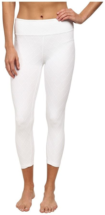 Onzie track leggings/running tights with bias-cut contrast mesh insets at knees....