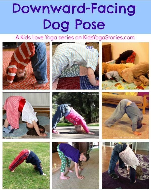 Downward-Facing Dog Pose - A Kids Love Yoga series on Kids Yoga Stories.  Send u...
