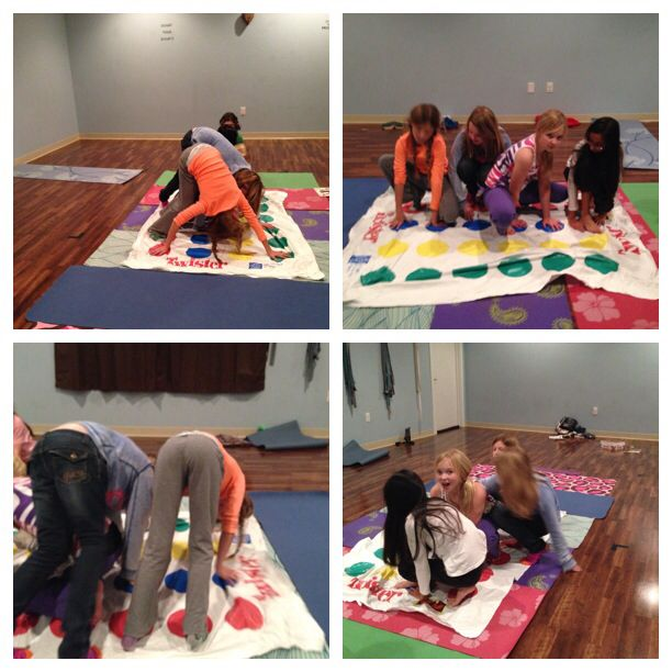 Playing twister in yoga