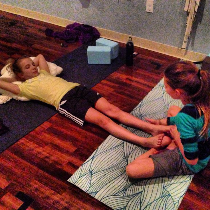 Share massage in savasana with other kids. A great way to connect with others.
