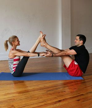 Tandem Boat - Hatha Yoga Poses for Couples - Shape Magazine, #Partner Yoga, #Yog...