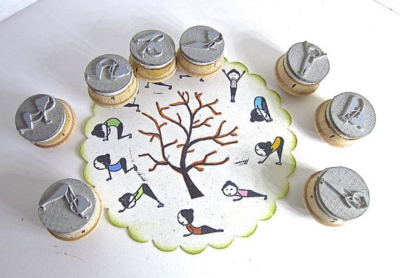 This is for a set of 8 yoga postures rubber stamps at 3/4 round size and mounted...