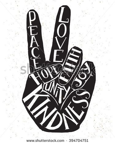 Vector lettering illustration - peace sign - hand showing two fingers with value...