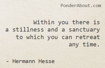 Within you there is a stillness and a sanctuary to which you can retreat any tim...