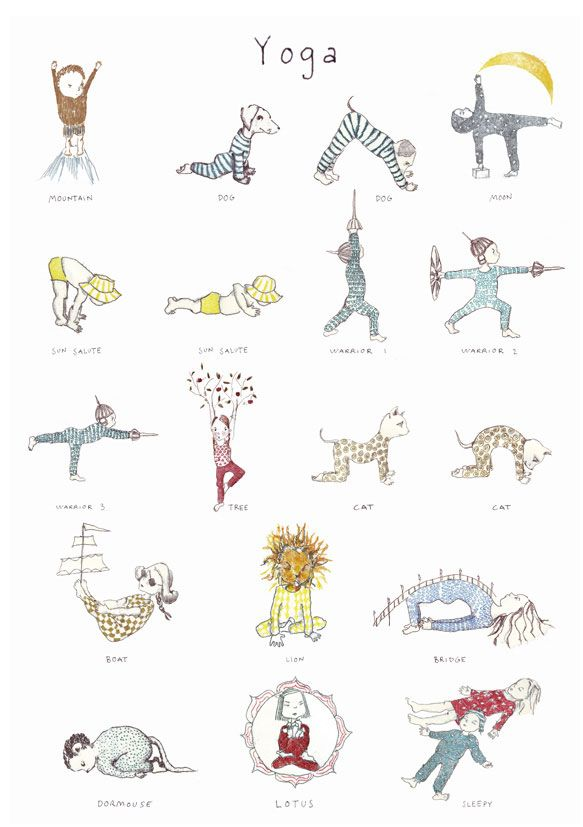 Yoga poster for kids. Helps to inspire little ones to try out a few yoga poses!
