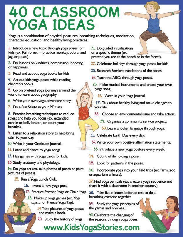 40 Classroom Yoga Ideas (free printable) | Kids Yoga Stories