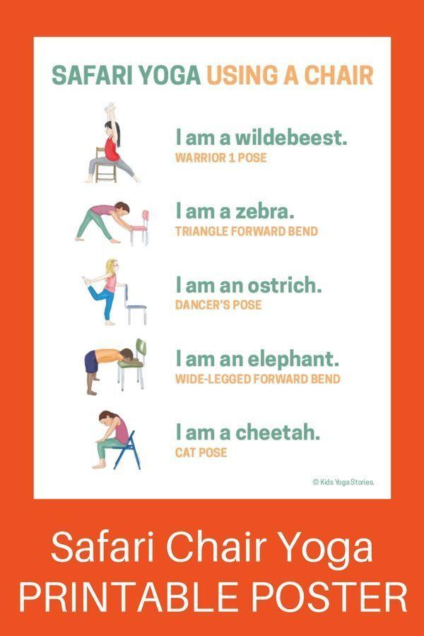 5 Safari Animals Yoga Poses Using a Chair (Printable Poster) | Kids Yoga Stories...