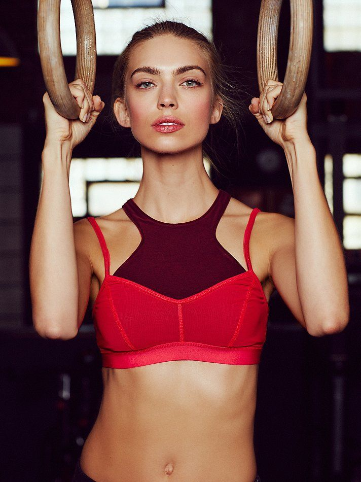 Fly Girl Bra   Picot Performance double layered active bra featuring Power Mesh....