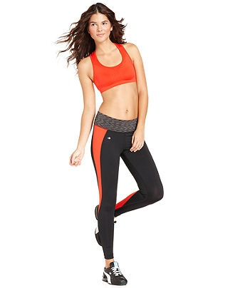 Ideology Seamless Racerback Sports Bra & Colorblock Active Leggings - Womens - M...