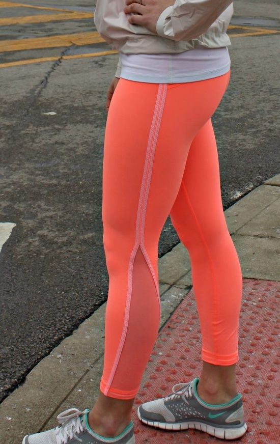 Neon running leggings...I want these! I'm so tired of only seeing black blac...