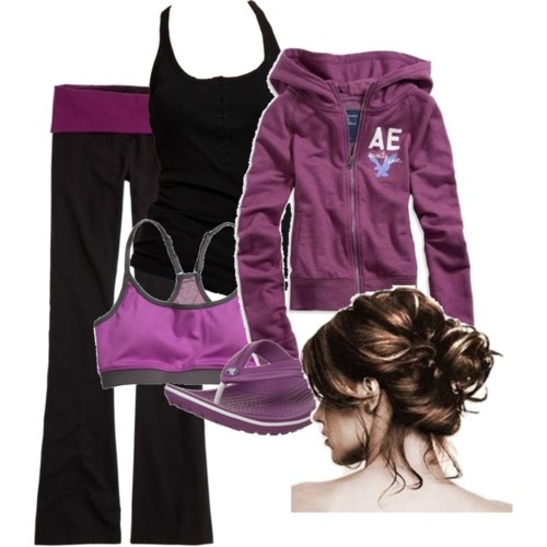 Purple yoga outfit