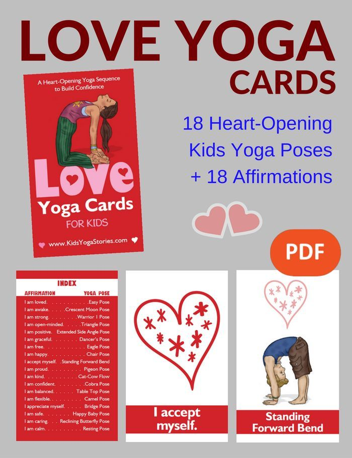 *NEW* LOVE Yoga Cards for Kids PDF Download | Kids Yoga Stories - 18 heart-openi...