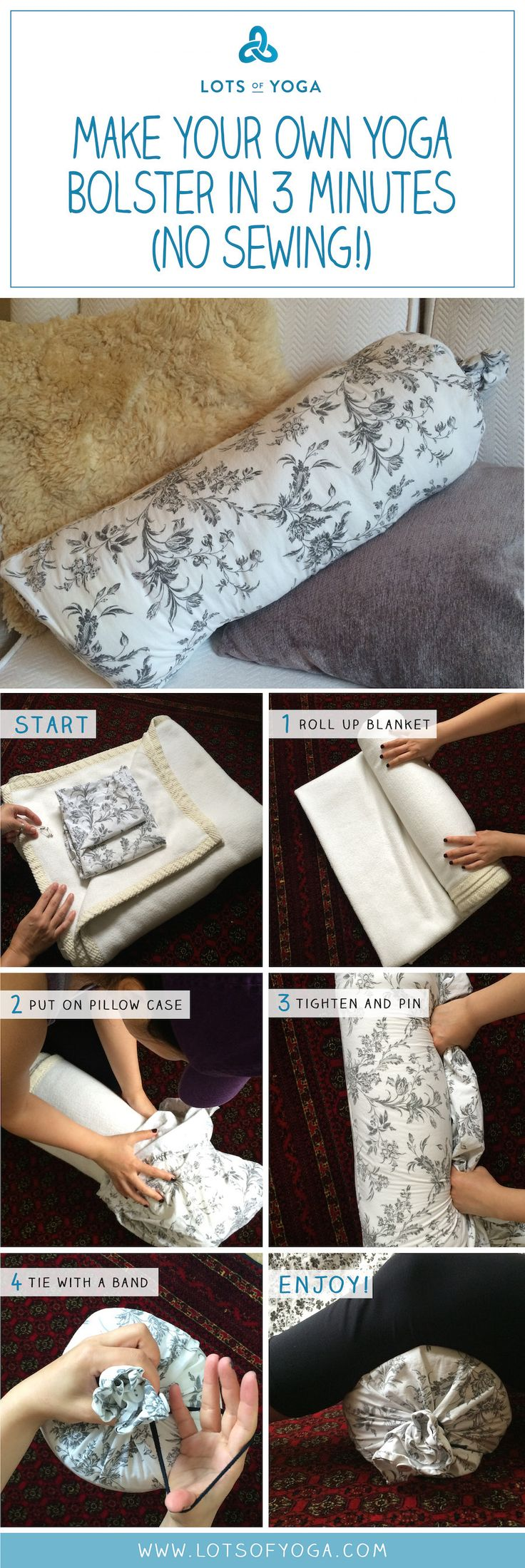 DIY Yoga Bolster!  (No Sewing) ...