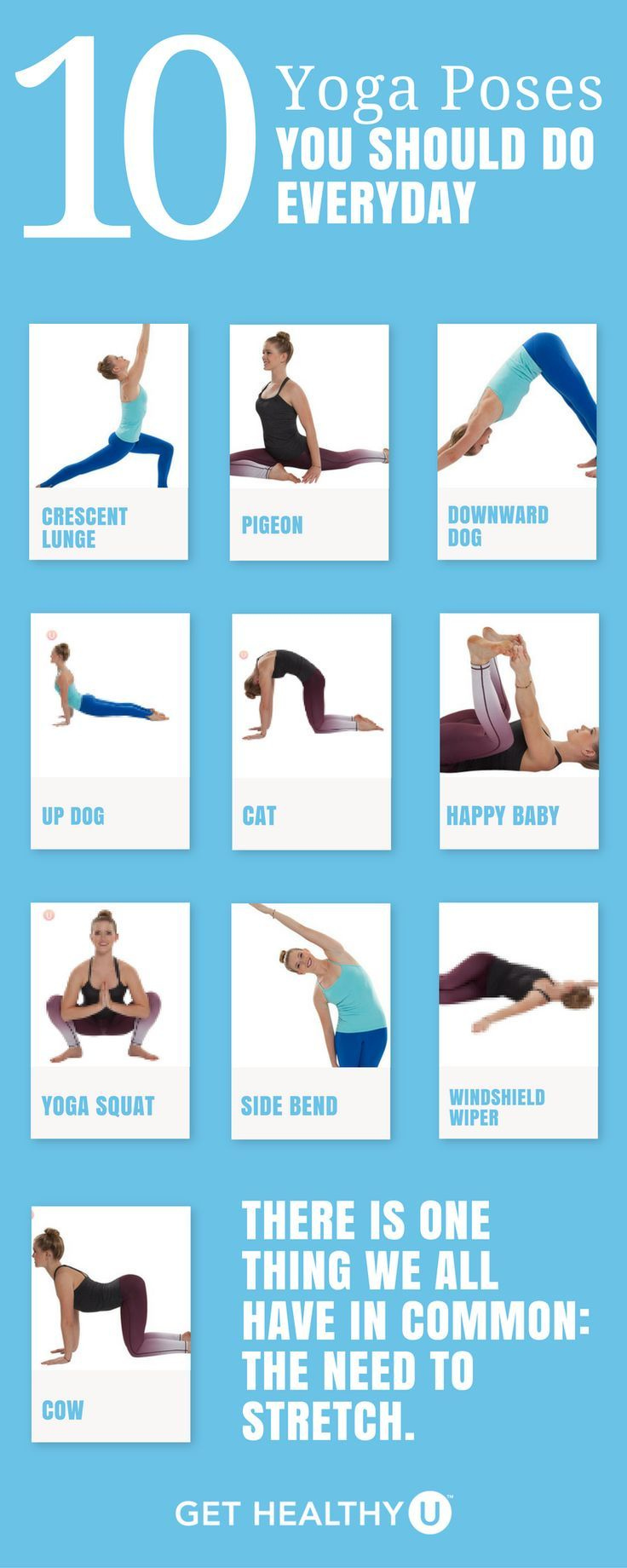 This simple yoga workout gives you 10 yoga poses you should do every day. You ca...