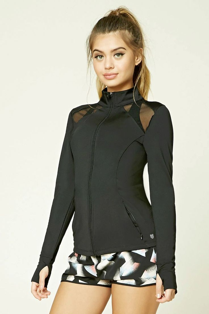 A stretch-knit athletic jacket featuring sheer netted-mesh panels, high neckline...