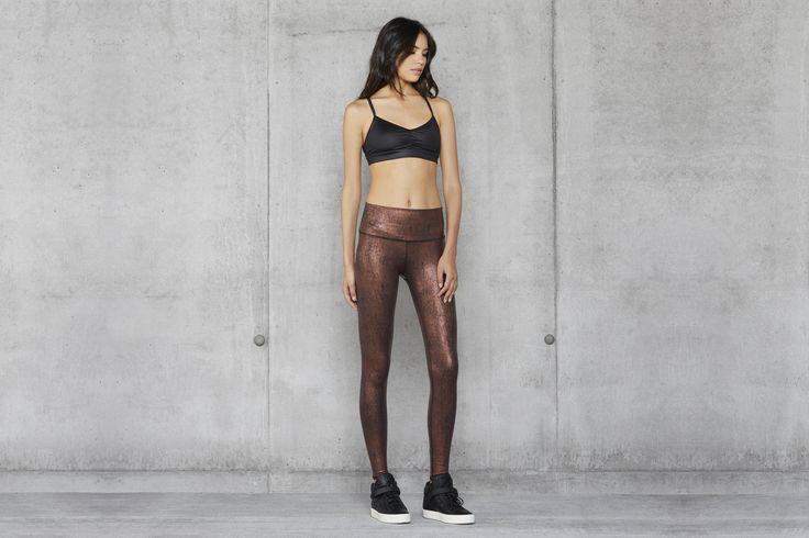 ALO YOGA || High Waist Airbrush Legging in Copper Metallic/Black and Glow Bra in...