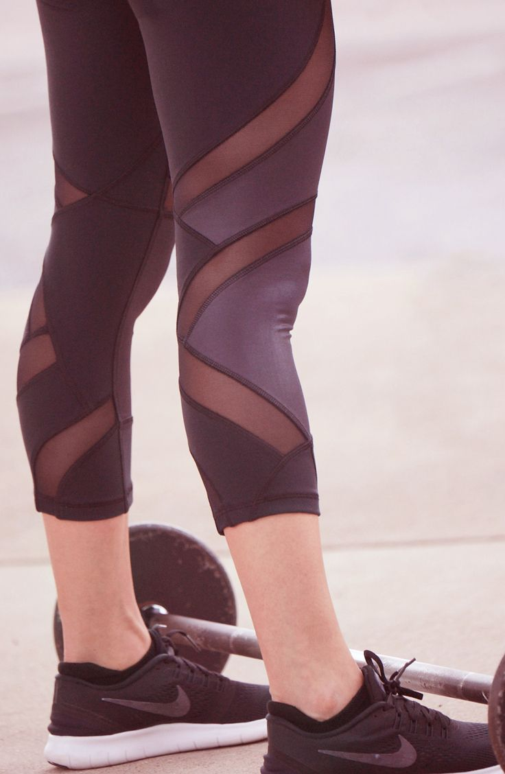 Black capris with mesh details take your look to the next level. | CALIA by Carr...