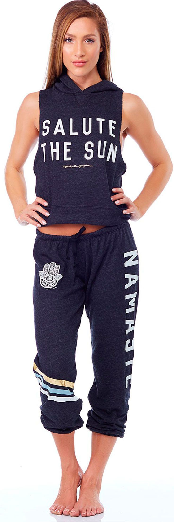 Salute the Sun in this adorable Hooded Muscle Sweatshirt and Namaste Sweatpants!...
