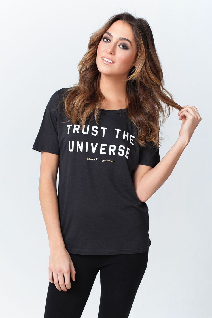 TRUST THE UNIVERSE TEE VINTAGE BLACK from Spiritual Gangster