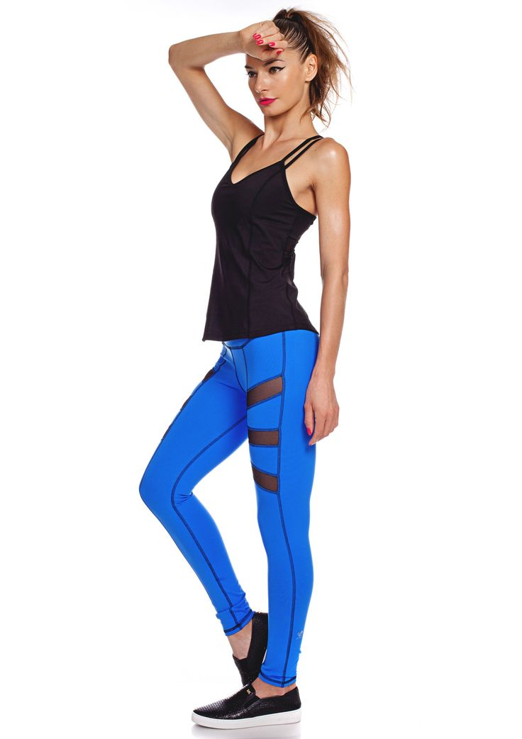 We are so in love with these bright blue compression leggings with black sport m...