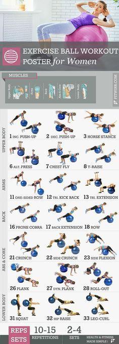 Exercise ball workout poster for women. #ballexercises #coreexercises #fitness F...