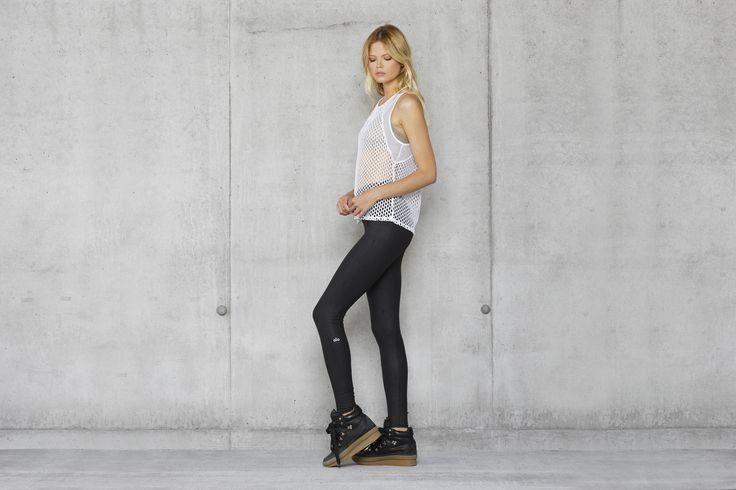 ALO YOGA || Net Tank and Airbrush Legging in Black Performance Leather #aloyoga ...