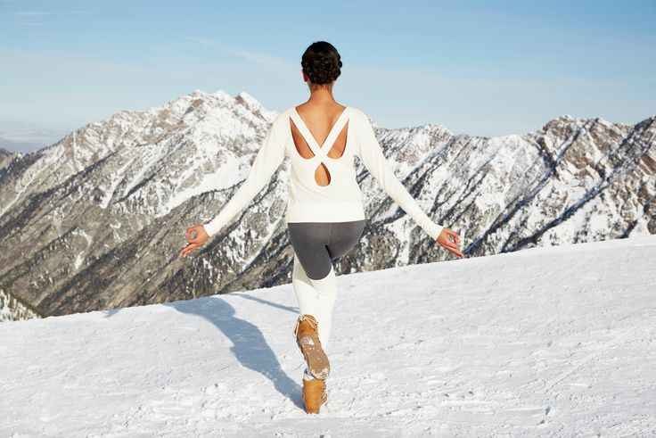 ALO YOGA || Winter is a wonderland. Flux Long Sleeve Top in Natural, Goddess Leg...