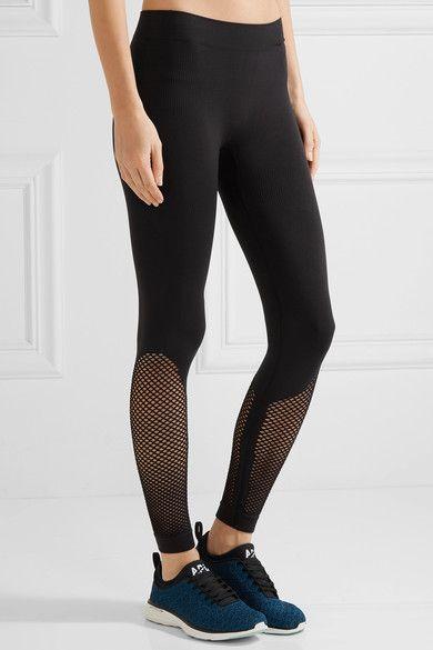 Adidas by Stella McCartney | Mesh-paneled Climalite stretch-jersey leggings | NE...