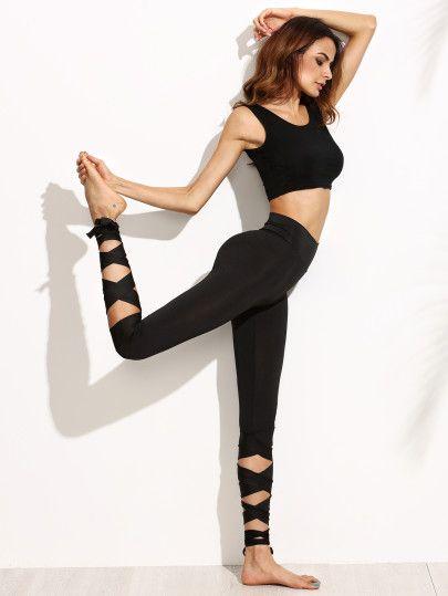 Shop Black Wide Waistband Tie Up Leggings online. SheIn offers Black Wide Waistb...