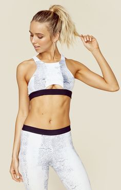The Tie Dye High Neck Sportsbra features a a white snake print throughout, high ...